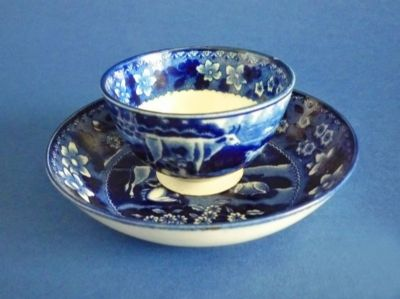 Rare Scott's Southwick Pottery Sunderland 'Milkmaid' Tea Bowl and Saucer c1825
